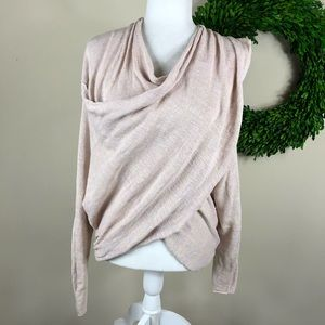 FREE PEOPLE   Light Pink Faux Wrap Pullover Sweate
